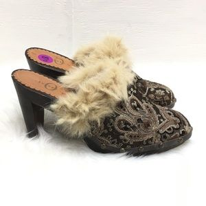 Joey Fur Wooden  Leather Studded Clogs 8.5